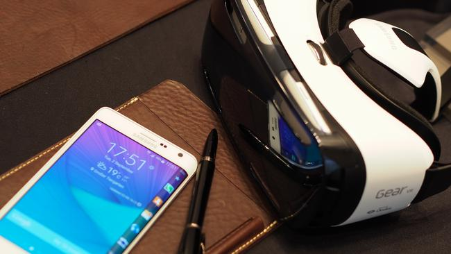 Watch this space ... the limited edition Samsung Galaxy Note Edge with its companion Gear VR headset. Picture: Jennifer Dudley-Nicholson