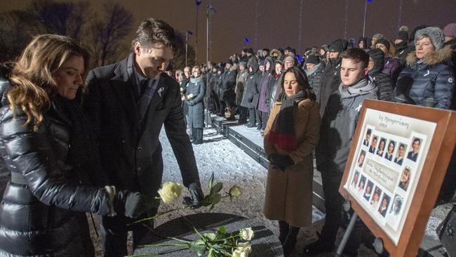 Prime Minister Justin Trudeau and wife Sophie Gregoire pictured at an Ecole Polytechnique memorial earlier this month. Picture: Ryan Remiorz/The Canadian Press via AP