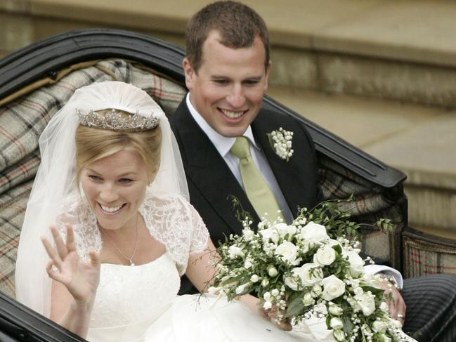 Peter Phillips and Autumn Kelly leave St George's Chapel in Windsor after their marriage vows in 2008. Picture: Supplied