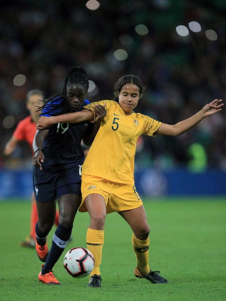 Mary Fowler of Australia in action with Griedge Mbock Bathy of France