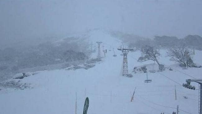 Snow day ... Snow started dumping down at Perisher early this morning. Picture: Ski.com.au