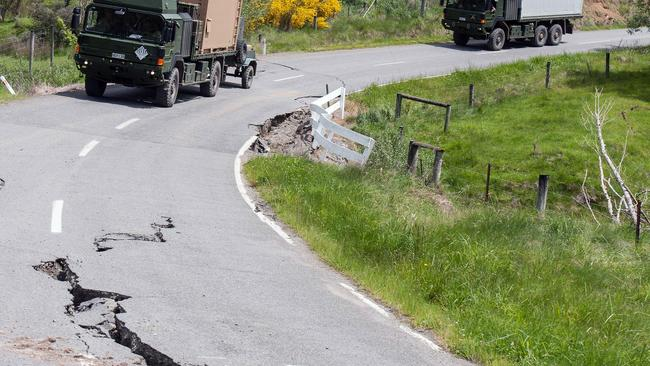 A convoy makes its way to deliver Civil Defence support in Kaikoura, South Island, New Zealand, after the November 14, 2016 earthquake. Picture: AAP Image/New Zealand Defence Force, Defence Force Affairs, LAC Chad Sharman