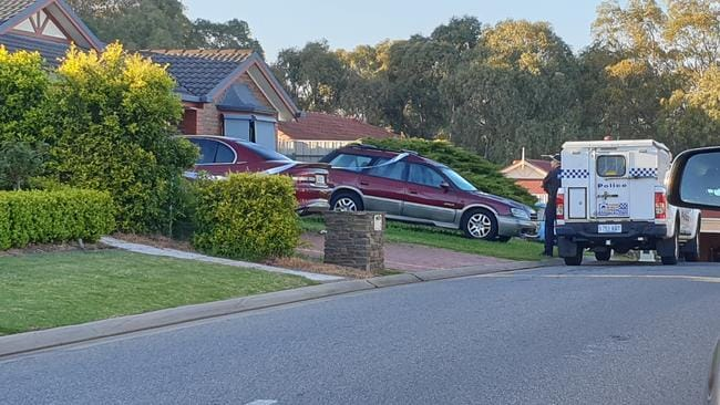 Police at the scene of an explosion in Woodcroft early on Tuesday morning. Picture: Elizabeth Henson