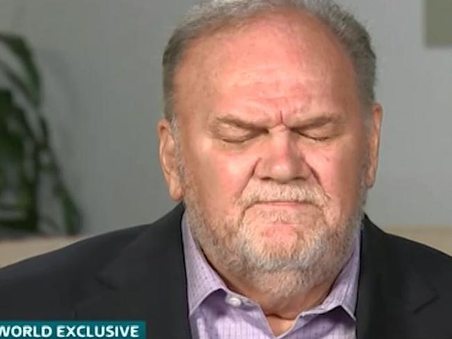 Thomas Markle gave his first interview since Meghan and Harry's wedding to ITV's Good Morning Britain. Picture: ITV