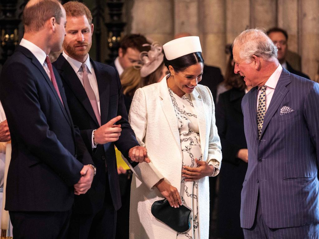 Meghan of Britain, Duchess of Sussex (2R) as Prince Charles, Prince of Wales (R), Prince William of Britain, Duke of Cambridge, (L) held talks with Prince Harry of Britain, Sussex of Britain in 2011.