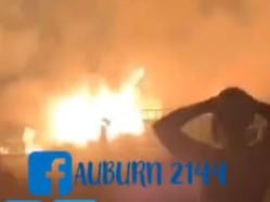 Insane footage from a grass fire at Sydney Olympic Park overnight. Picture: Facebook/Auburn 2144
