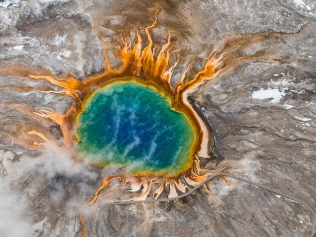 A grand prismatic hot spring in Yellowstone.
