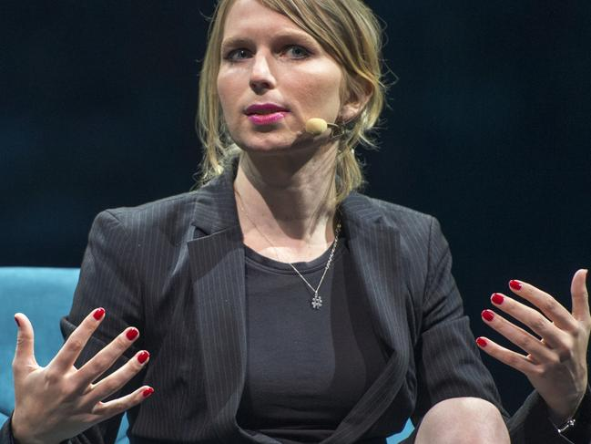 Chelsea Manning, the former Army intelligence analyst who served about seven years in federal prison for leaking government documents to Wikileaks. Picture: AP