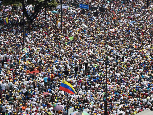Anti-government demonstrators rally in Caracas. Picture: Federico Parra/AFP