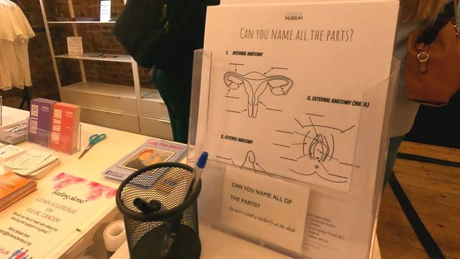 Visitors can fill out worksheets labelling the basic parts of the vagina. Picture: Alle McMahon