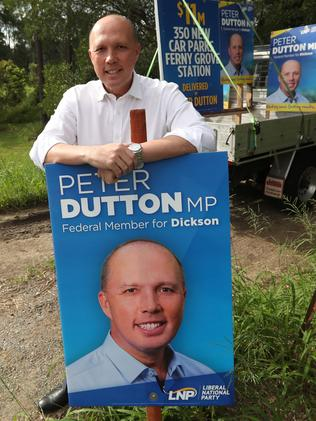 Peter Dutton campaigning in Dickson. Picture: Lyndon Mechielsen