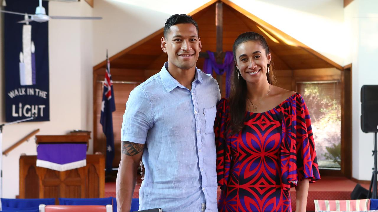 Israel Folau with wife Maria at Kenthurst Uniting Church after a Sunday service. Hollie Adams/The Australian