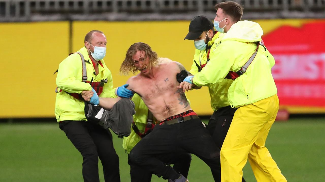 A pitch invader marred an otherwise successful return to footy for crowds (Photo by Paul Kane/Getty Images).