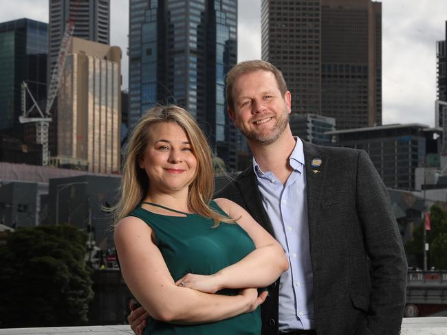 Writers of new musical  <i>Come From Away </i>— Irene Sankoff and David Hein — visiting Melbourne to oversee final arrangements for the show's opening at Melbourne's Comedy Theatre in July. Picture: Alex Coppel.