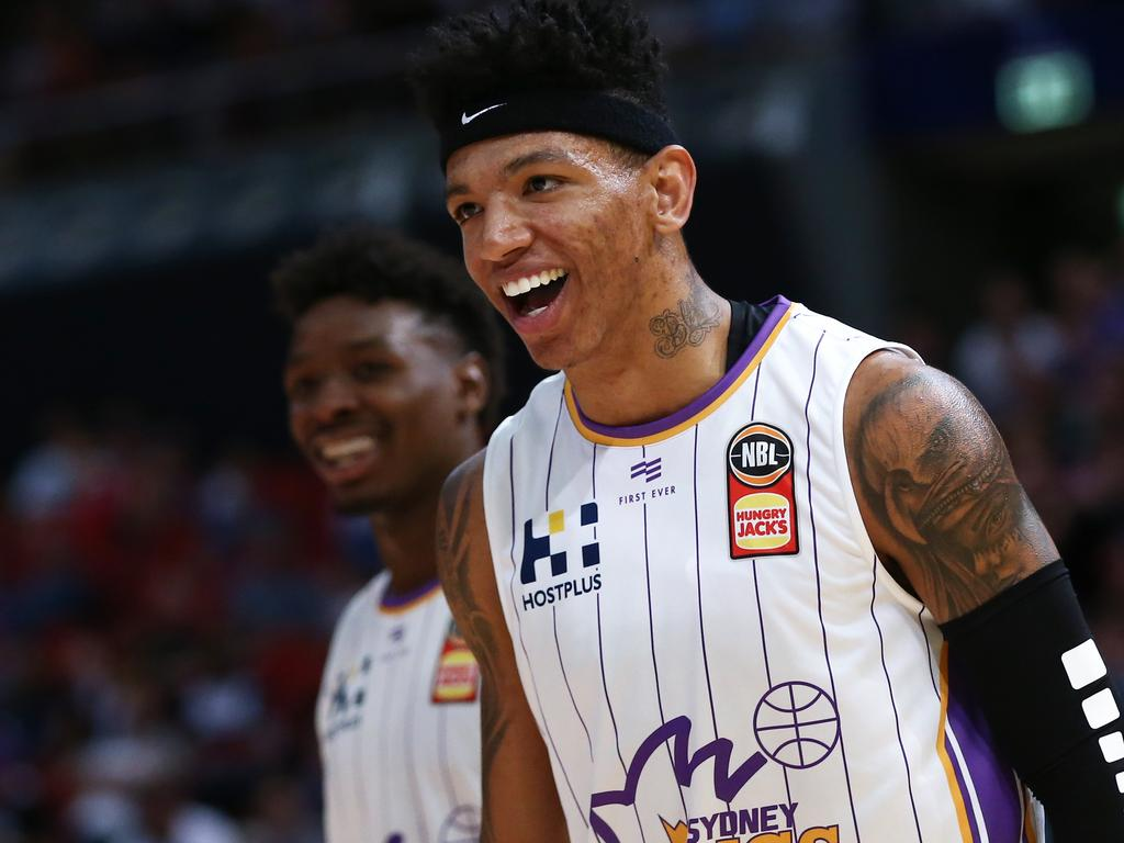 Didi Louzada of the Kings celebrates during the Round 6 NBL match between the Sydney Kings and the Perth Wildcats at Qudos Bank Arena in Sydney, Australia. (AAP Image/Brendon Thorne) NO ARCHIVING, EDITORIAL USE ONLY