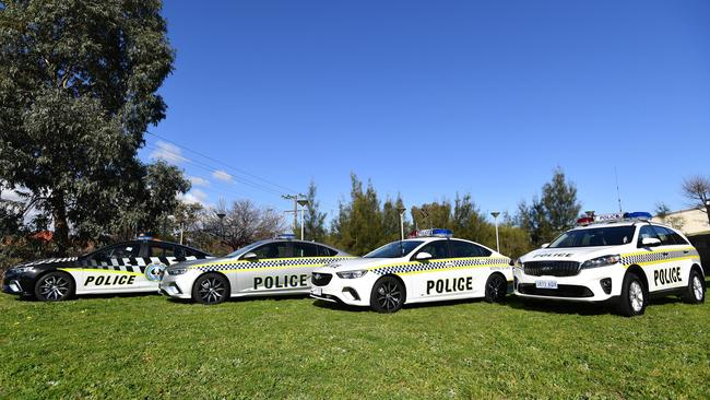New Holden Commodore joins the Kia Sorento in a trial by South Australia Police. Picture: AAP Image/David Mariuz.