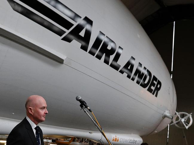 Hybrid Air Vehicles chief executive officer Stephen McGlennan speaks during the media launch for the Airlander 10 airship, near Bedford, UK in 2016. Picture: AFP/Adrian Dennis