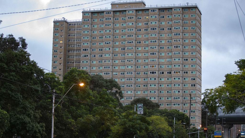 One of the locked down public housing blocks in Flemington, Melbourne. Picture: Sarah Matray.