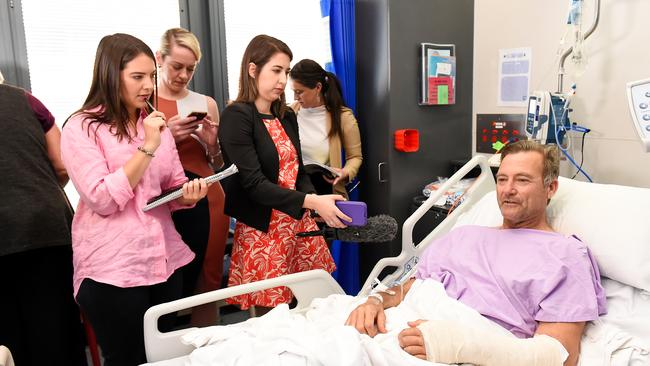 Luckily, Mr Parker knew how to splint his fractured leg with walking poles and bandages. Picture: AAP/Albert Perez