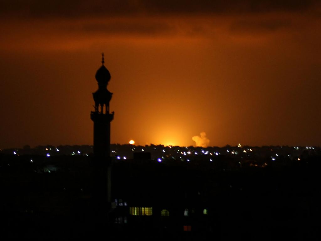 Smoke and flames are seen following an Israeli air strike in the Khan Yunis town of the southern Gaza Strip on September 16, 2020. Picture: Said Khatib/AFP