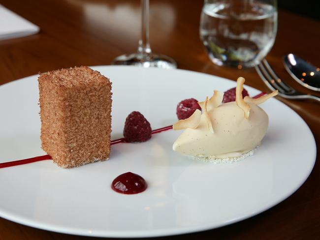 What's old is new again ... Heston Blumenthal's lamington cake. Picture: Andrew Tauber