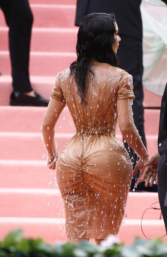 Kardashian says her back was covered in indentations after she took the dress off. Picture: John Lamparski/Getty Images