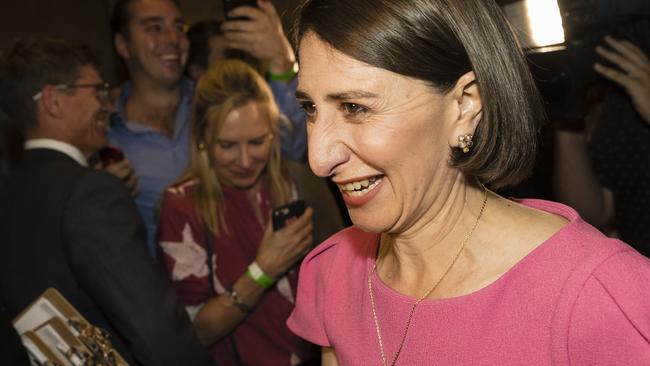 Gladys Berejiklian at her victory party. Picture: Brook Mitchell/Getty