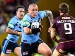 David Klemmer of the Blues takes on the defence during game three of the State of Origin series between the Queensland Maroons and the New South Wales Blues at Suncorp Stadium on July 11, 2018 in . (Photo by Bradley Kanaris/Getty Images)