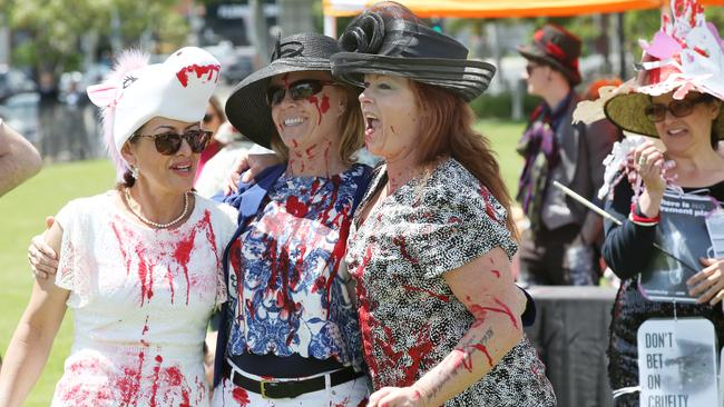 Animal activists stage a protest with mock fashion and races during Melbourne Cup Day outside Flemington Racecourse in Melbourne. Picture: David Crosling/AAP