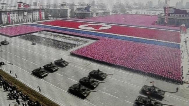 The not-so-modest celebrations in April 2012 for the birthday of North Korea founder Kim Il Sung. Picture: AP.