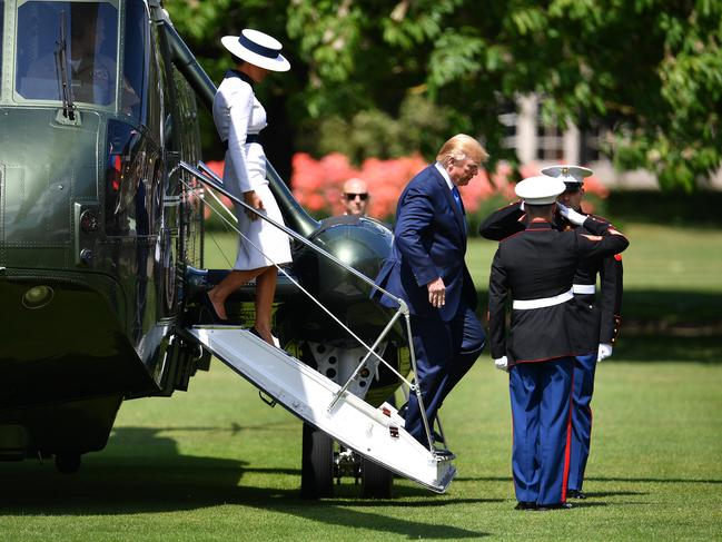US President Donald Trump and First Lady Melania Trump disembark Marine One at Buckingham Palace on June 3. Picture: Jeff J Mitchell/Getty Images