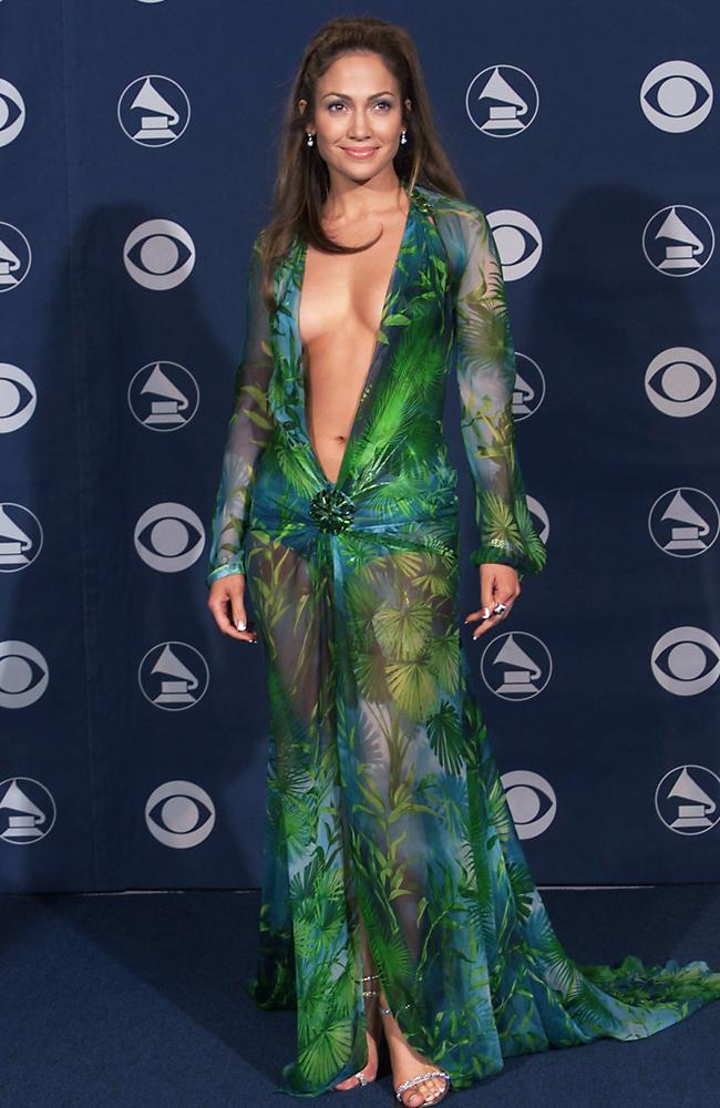 18 years ago, wearing that iconic Versace dress to the 2000 Grammys. Photo by Scott Gries/ImageDirect
