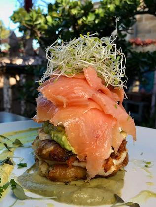 The smoked salmon stack. Picture: Jenifer Jagielski