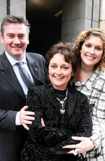 2006: Channel Nine chief executive Eddie McGuire, politician Pru Goward and model Kate Fischer, leaving Machiavelli restaurant in Sydney. Picture: Chris Hyde/News Corp