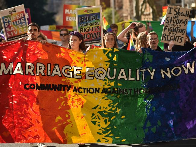 Supporters of same sex marriage held a rally in Sydney ahead of the meeting. Picture: AFP