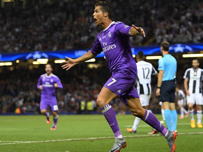 Cristiano Ronaldo of Real Madrid celebrates.
