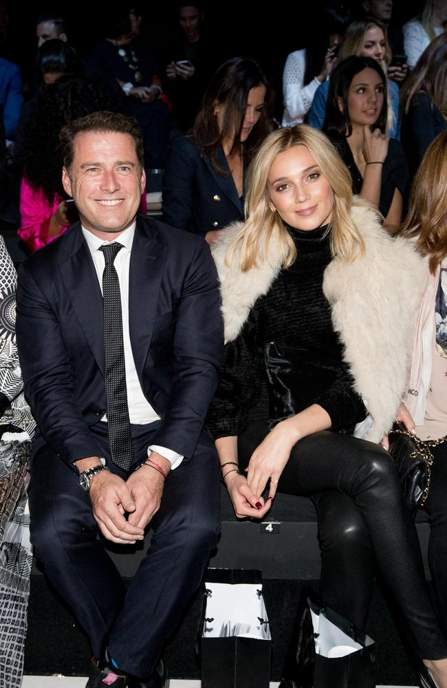 Karl Stefanovic and Jasmine Yarbrough at Mercedes-Benz Fashion Week. Picture: Cole Bennetts/Getty Images