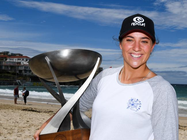 World champion surfer Tyler Wright with her trophy.