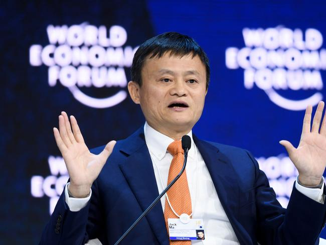 Alibaba Executive Chairman Jack Ma speaks during the annual World Economic Forum (WEF) on in Davos, eastern Switzerland. Picture: AFP
