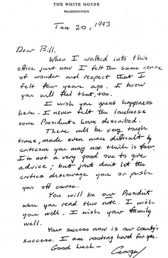 The letter George H.W. Bush wrote for his successor, Bill Clinton.