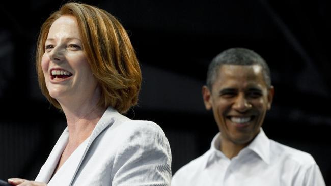Julia Gillard with Barack Obama at Darwin's RAAF Base in November, 2011. Picture: AFP