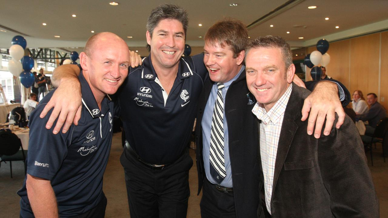 Former Carlton players (L-R): Craig Bradley, Stephen Kernahan, Peter Motley and Mark Naley in 2009.