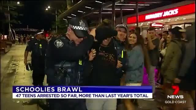 Wild schoolies brawl on Gold Coast