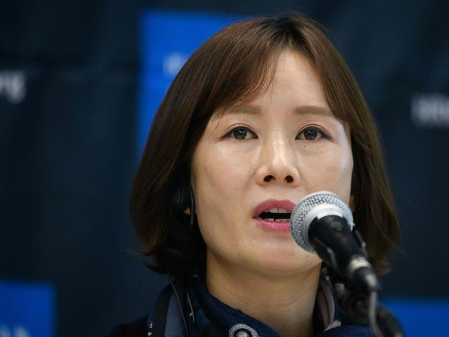New Korea Women's Union director Lee So Yeon attends a press conference in Seoul. Picture: AFP