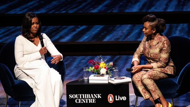 LMichelle Obama appeared on stage in London with Nigerian author Chimamanda Ngozi Adichie. Picture: Getty Images