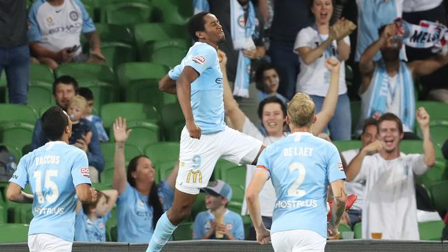 Melbourne City's Shayon Harrison celebrates after scoring a goal against Brisbane.
