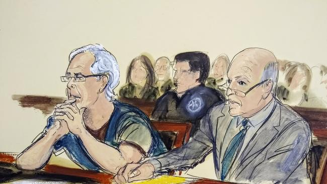 In this July 15, 2019 courtroom artist's sketch, defendant Jeffrey Epstein, left, and his attorney Martin Weinberg listen during a bail hearing in federal court, in New York. Officials say the FBI and U.S. Inspector General's office will investigate how Epstein died in an apparent suicide, while the probe into sexual abuse allegations against the well-connected financier remains ongoing. Picture: Elizabeth Williams via AP, File
