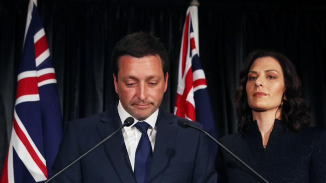 Victorian Liberal party leader Matthew Guy and wife Renae announce defeat on Saturday night. Picture: David Crosling/AAP