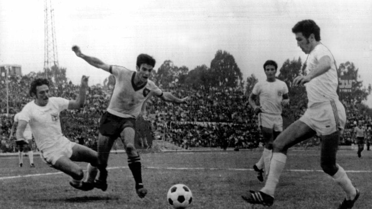 Johnny Warren (second from left) playing for the Socceroos in 1969.