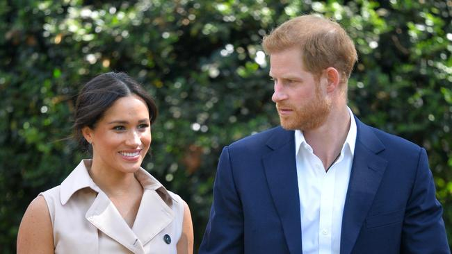 Harry and Meghan revamped their social media accounts after returning from Africa. Picture: Dominic Lipinski/Pool via AP